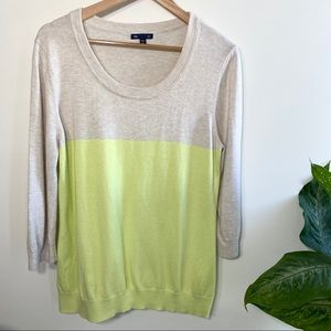 Gap oatmeal/lime color block pullover knit sweater